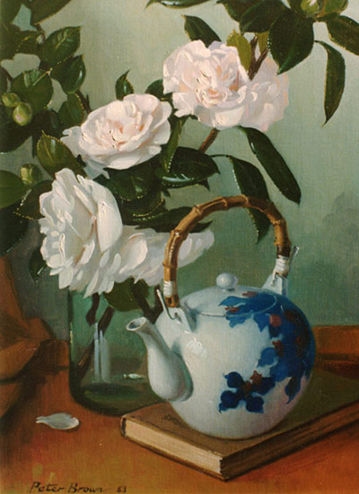 Fine Art by Peter Brown: Japanese Teapot with Camellias